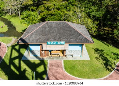 Miri, Sarawak, Malaysia - December 6 2018:Public toilets in the Public Park Miri (malay: Taman Awam Miri)