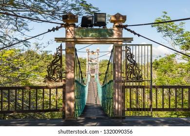 Miri, Sarawak, Malaysia - December 6 2018: Entrance to the canopy walk at the Public Park Miri (malay: Taman Awam Miri)