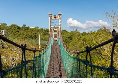 Miri, Sarawak, Malaysia - December 6 2018: Tree top walkway at Public Park Miri (malay: Taman Awam Miri)