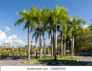 Miri, Sarawak, Malaysia - December 6 2018: Parking lot and entrance to the canopy walk at the Public Park Miri (malay: Taman Awam Miri)