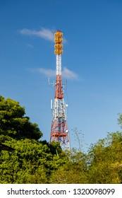 Miri, Sarawak, Malaysia - December 6 2018: Communication tower at the Public Park Miri (malay: Taman Awam Miri)