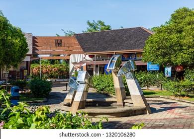 Miri, Sarawak, Malaysia - December 6 2018: Fountain at the Public Park Miri (malay: Taman Awam Miri)