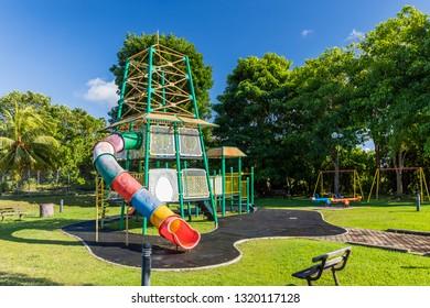 Miri, Sarawak, Malaysia - December 6 2018: Children playground at Public Park Miri (malay: Taman Awam Miri)