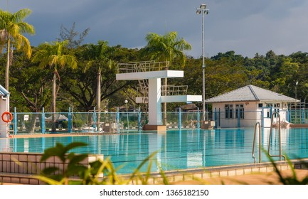 Miri, Sarawak, Malaysia - December 6 2018: Miri Public Swimming Pool (malay: Kolam Renang Awam Miri), part of the Miri Sports Complex