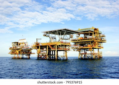 miri sarawak,malaysia december16 2017 : offshore oil and gas industry platform at sea near miri