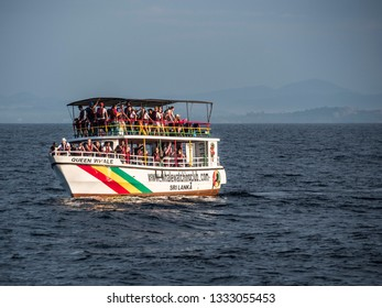 Mirissa, Shri Lanka - February 04, 2019: whale watching boat in the ocean near Mirissa, Shri Lanka.