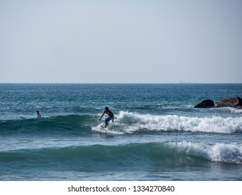 Mirissa, Shri Lanka - February 05, 2019: Mirissa, Shri Lanka, is a destination for tourist  to enjoy surfing the waves of the Indian Ocean.