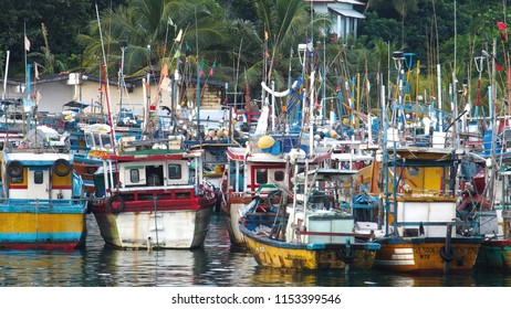 Mirissa, Southern Province/Sri Lanka - 12 10 2014: Fishing Boats at Mirissa Harbour