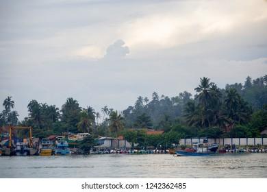 MIRISSA, SRI LANKA - 5 DECEMBER 2013: Tropical coast view in Mirissa, Sri Lanka
