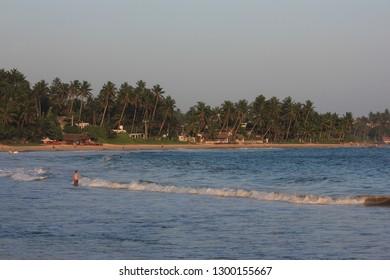 Mirissa, Sri Lanka - April 21, 2013: An evening view of the Mirissa beach!