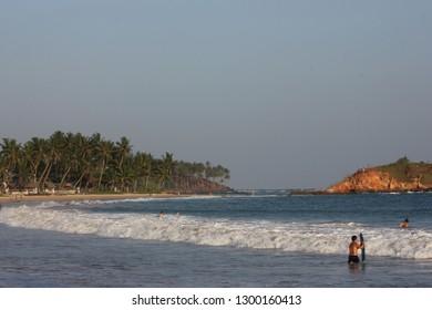 Mirissa, Sri Lanka - April 21, 2013: A view of the beautiful Mirissa Beach in the evening!