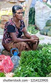 MIRISSA, SRI LANKA - AUGUST 04, 2012 : A lady selling fresh fruit and vegetables at a roadside market at Mirissa in southern Sri Lanka.