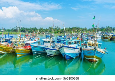 MIRISSA, SRI LANKA - DECEMBER 3, 2016: The fisheries harbor od Mirissa is one of largest and most popular among the tourists at the South Coast, on December 3 in Mirissa.