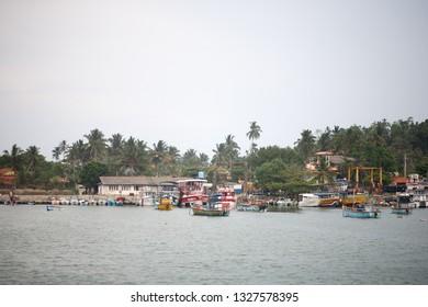 Mirissa, Sri Lanka - March, 25, 2018: Traditional Sri Lanka fishing boats in the Mirissa harbor.