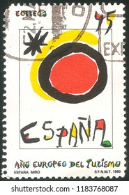 Miro, Spain CIRCA 1959: FNMT Famous Art Postage Stamp Printed Art Traditional Style