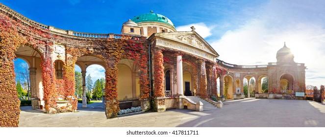 Mirogoj cemetery monumental arcades panorama, Zagreb, Croatia