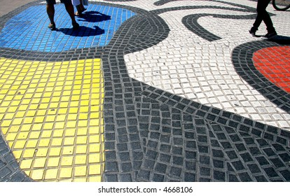 Miro's mosaic in the middle of the Rambla, the most important road in Barcelona, one of the landmarks of the city