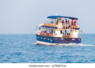 Mirrisa / Sri Lanka - March 24 2017:  Group of tourists on whale watching tour in Mirissa, Sri Lanka.  Adventure travel, tourism industry. Protection concept. Explore world. Attraction
