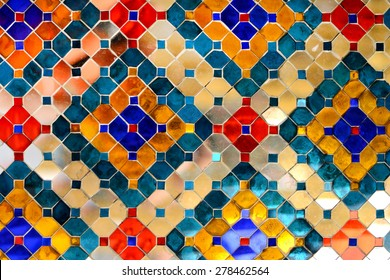 Mirror Asian Pattern Backgrounds in Thailand at Wat Phra Kaew Temple, Thai Art