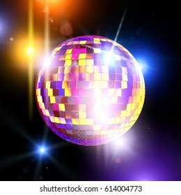 mirror ball and disco lights 3d rendering image