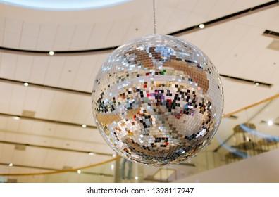 mirror ball hanging decor for a disco show night club