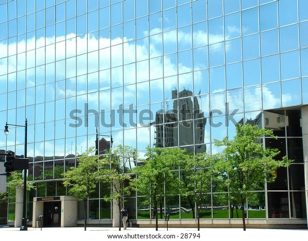 mirror building in downtown Grand Rapids
