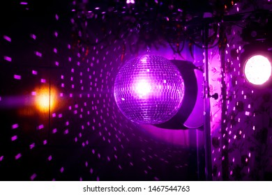 Mirror disco ball on dark background