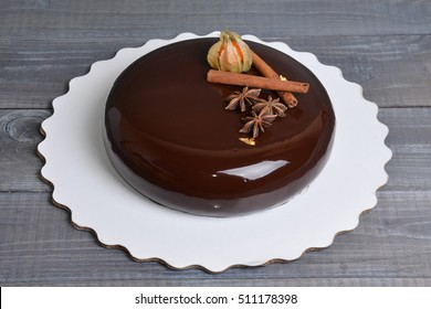 mirror glaze chocolate mousse cake with decoration