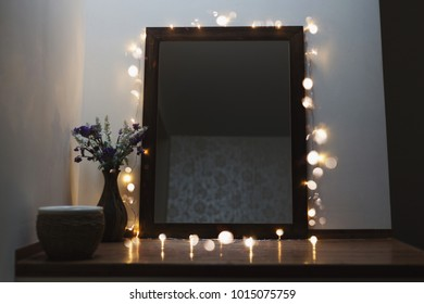 Mirror in the hotel room. Christmas decoration