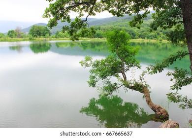 Mirror lake, high in the mountains, Crimea