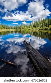 Mirror Lake in Oregon on shore with Clouds reflected in the water around a log