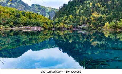 Mirror Lake reflections, Jiuzhaigou, China.