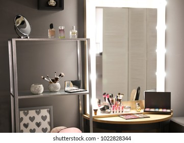 Mirror with lamps in modern makeup room