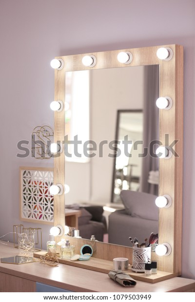 Mirror Light Bulbs Cosmetic Products On Stock Photo Edit