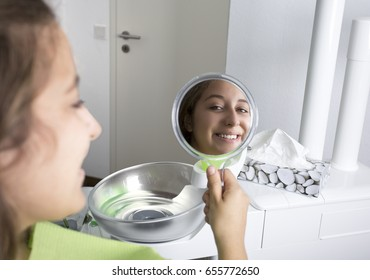 at the mirror looking patient