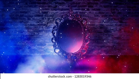 Mirror magical, fortune telling and fulfillment of desires. Brick wall with thick smoke, rays of magic light, night feed, riddle.