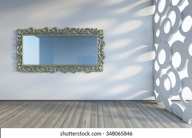 mirror on the wall 3d Rendering