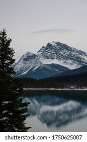 Mirror photography of glacier reflecting in lake in Banff National Park at the Columbia Icefields in Canada - a toursit destination