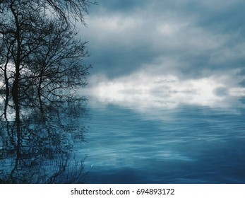 Mirror Reflection In The Cloudy Blue Sky Water And Trees