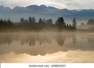 Mirror reflection Lake Mathson Aoraki Mount Cook National Park New Zealand, natural landscape background