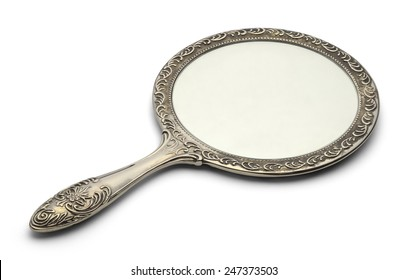 Mirror Resting on Surface Isolated on White Background.