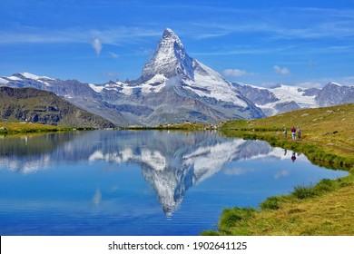 The mirror view of Matterhorn on lake. swiss