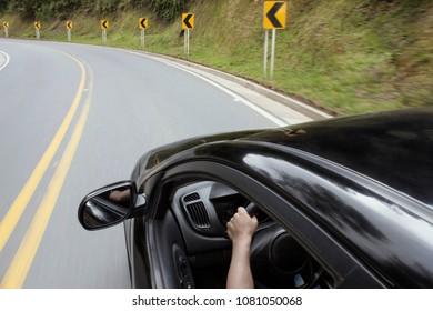 mirror view of speeding car