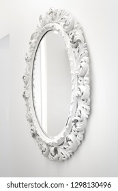 Mirror with vintage wooden carved leaf style decorative frame, very old