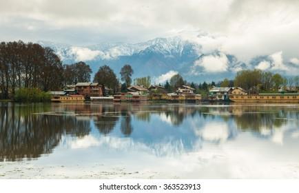 Mirror-Dal Lake in the morning,india