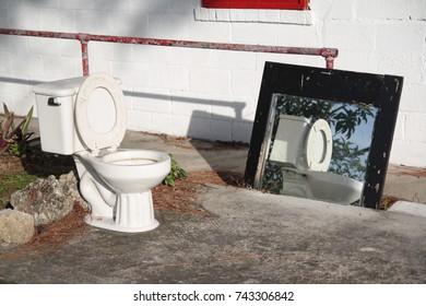 Mirrored toilet, open air toilet with mirror, Florida.