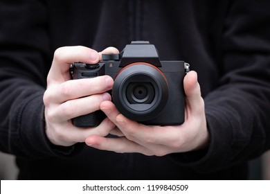 Mirrorless camera of 21st century. Compact digital camera system. Clena image with no brands or signs