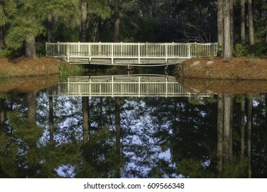 Mirrorlike reflection of wooden footbridge across lake to garden island in Savannah, Georgia, USA, for themes of landscaping, connection and access