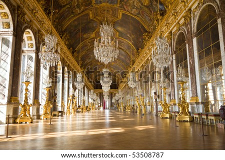 Mirror's hall of Versailles Chateau. France
