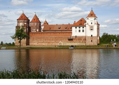 Mirs Castle Belarus. The reflection of the castle in the lake